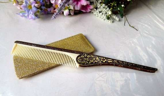 Vintage Purse Comb Folding Rat Tail and Gold Lame Fabric Compact Case c. 1960's