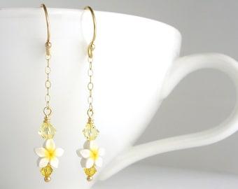 Simple Plumeria Flower Earrings, Yellow Frangipani Dangle Earring, Gold-Filled Jewelry