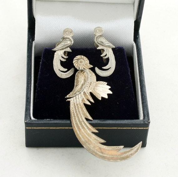 Vintage Guatemala Silver Quetzal Bird Brooch and Earrings Set