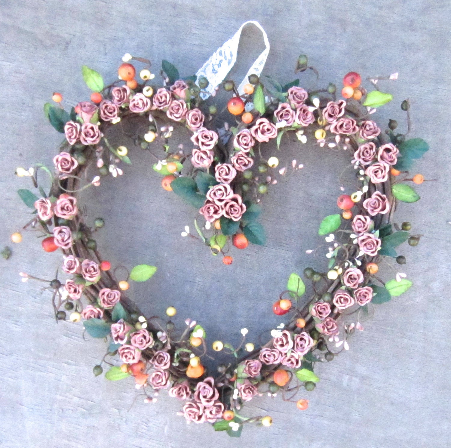 Fall Wreath Heart Shaped Wreath Front Door Decoration