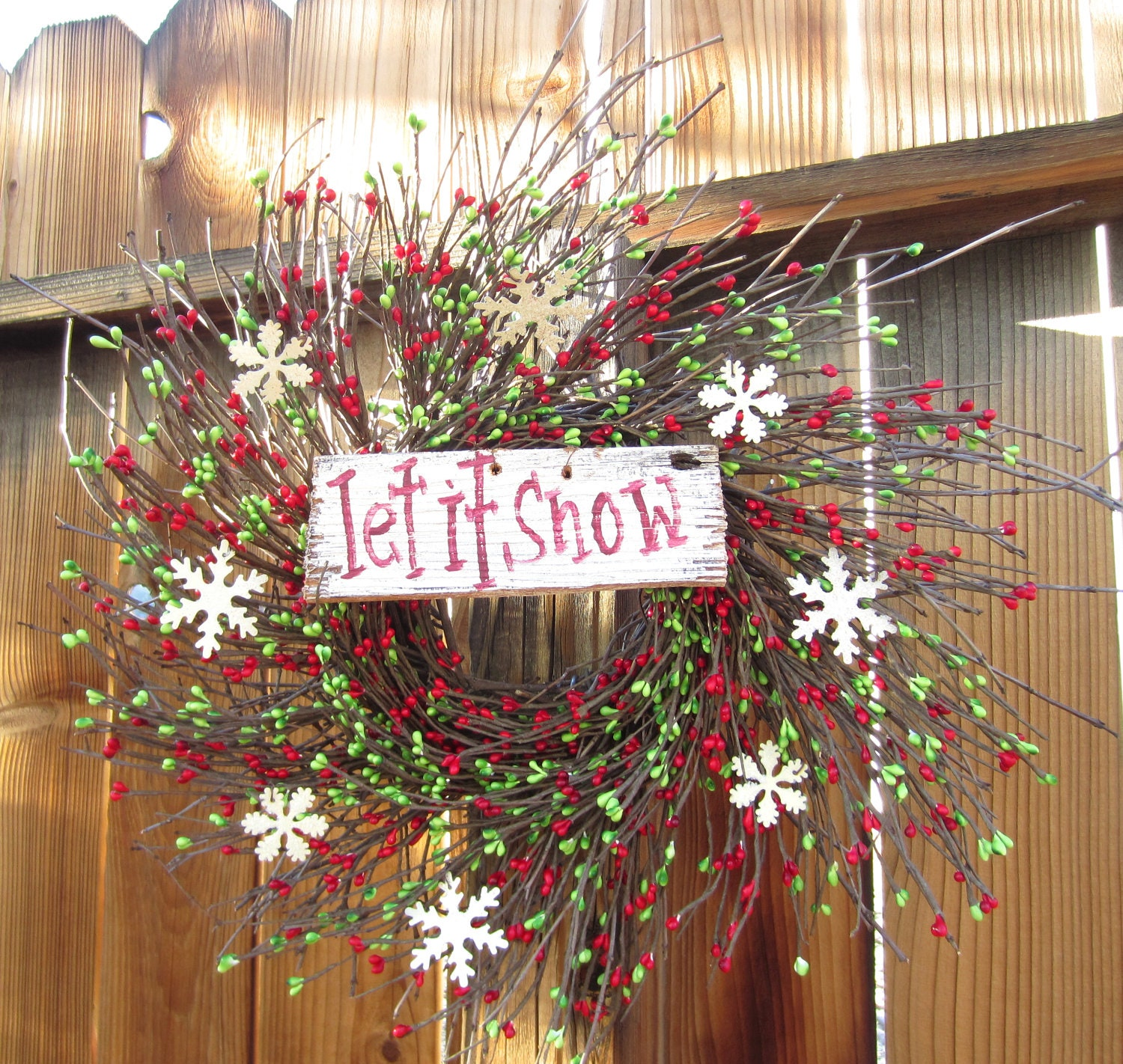 Christmas Door Frame Decorations: Let It Snow Winter Wreath Door Decor For Your Holiday Front