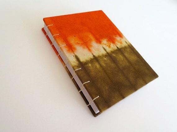 Orange tie dye paper small journal book