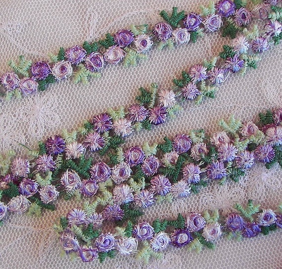 Embroidered rose bud lavender flower ribbon by