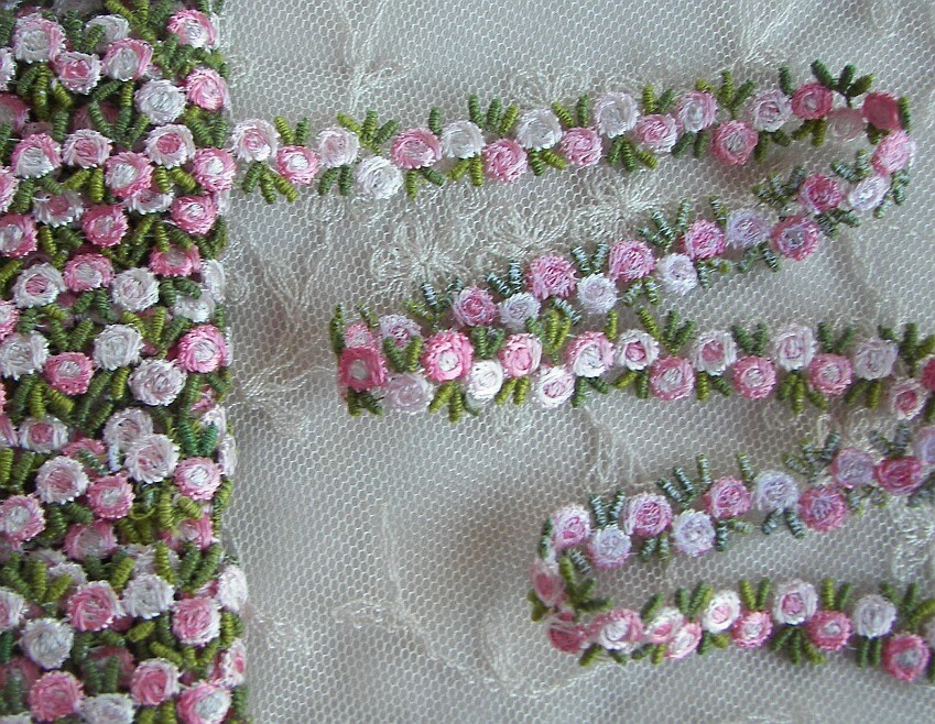 Vintage chic embroidered rose bud flower ribbon trim scrapbook