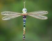 Multi-Color Suncatcher Dragonfly Small - Choose Your Own Custom Colors - Gold or Silver Toned