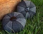 Penny Rug Series: Black & Grey Tweed and Herringbone Pinwheel Felted Wool Pincushion