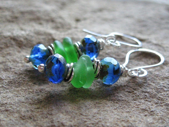 Green Seaglass and Blue Czech Glass Earrings