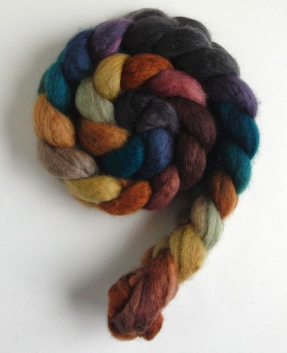 BFL Roving - Handpainted Spinning or Felting Fiber, African Sunset , Lynne Vogel