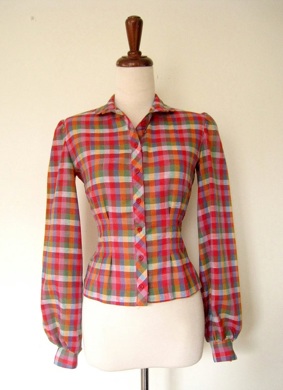 1970s Blouse // Fitted Colorful Checkered Blouse XS