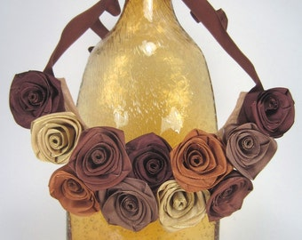 Brown bib statement necklace of ribbon roses -- French ribbon roses in beautiful browns -- a gorgeous gift for her