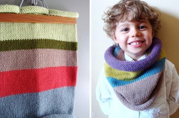 kids knit cowl in GREENS and ROUGE (vegan friendly, ooak)