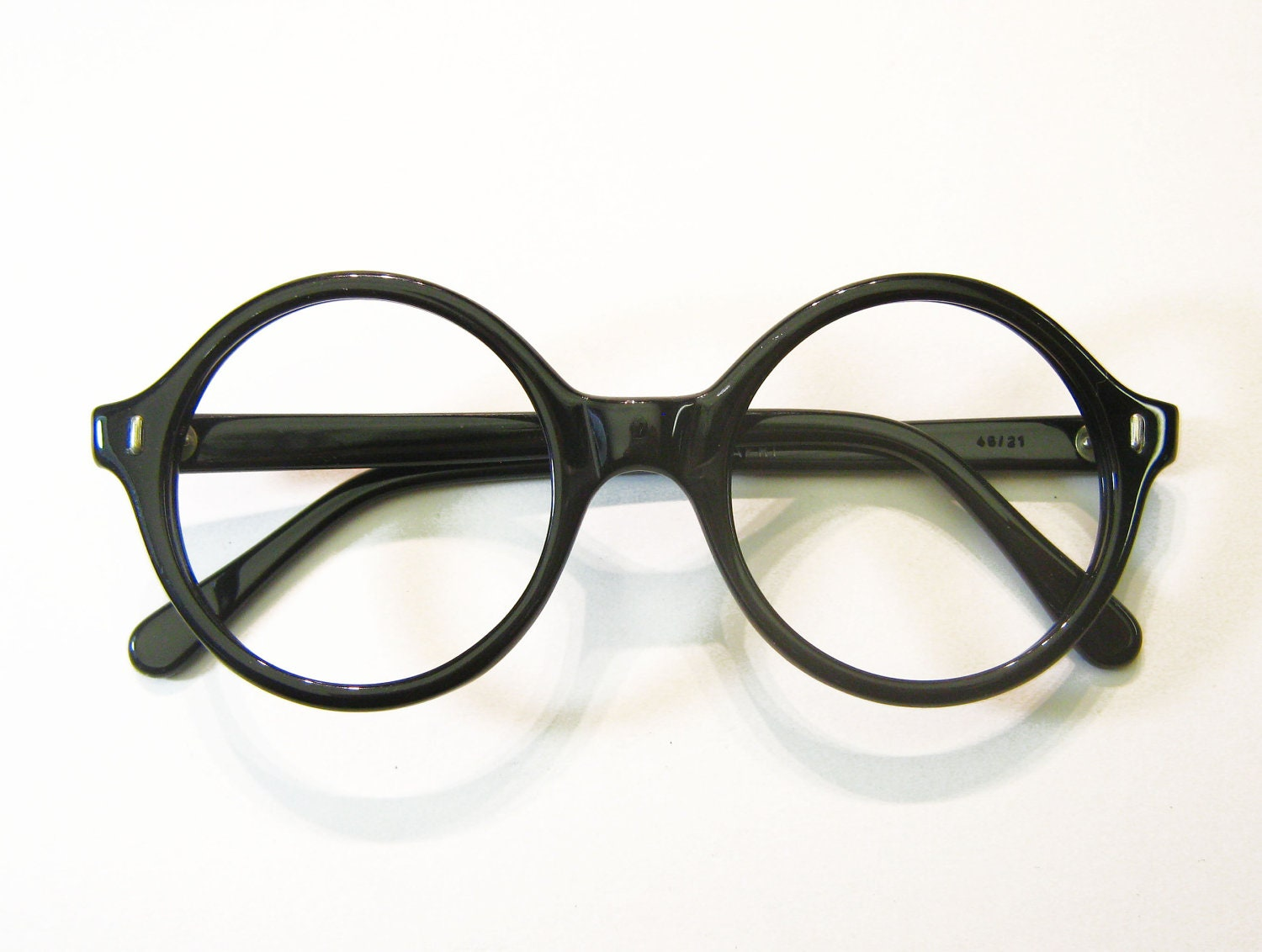 round eyeglass frames france vintage 60s black zoom
