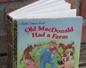 Old MacDonald Had Farm Golden Book Journal with Hand Torn 140lb Cold Press Watercolor Paper