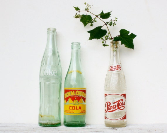 Set of Three Vintage Soda Bottles