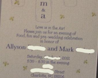 Custom Mason Jar and Firefly  Shower invitation great rustic design, set of 25 invites