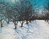 Orchard in Winter, original plein air painting