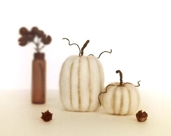 Set of 2 Felted Miniatures Rustic Pumpkin Decor Harvest Table Autumn Halloween Thanksgiving Made To Order