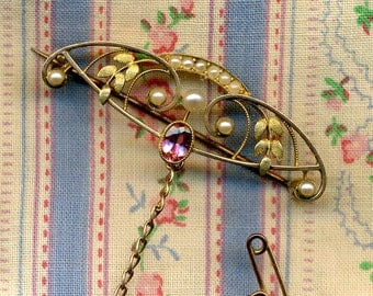 SALE SALE SALE Antique 14K Gold Seed Pearl and Pink Semiprecious Stone Pin