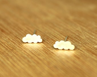 Tiny Stratus Clouds stud Earrings- Sterling Silver