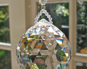 """Large 40mm Clear Swarovski Crystal Ball Suspended from Beaded Swarovski Crystal Strand - """"SIMPLICITY GRANDE CLEAR"""" - 10.5"""" Long"""