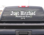 Personalized Just Hitched Western Wedding Truck Decoration Vinyl Lettering Decals Stickers