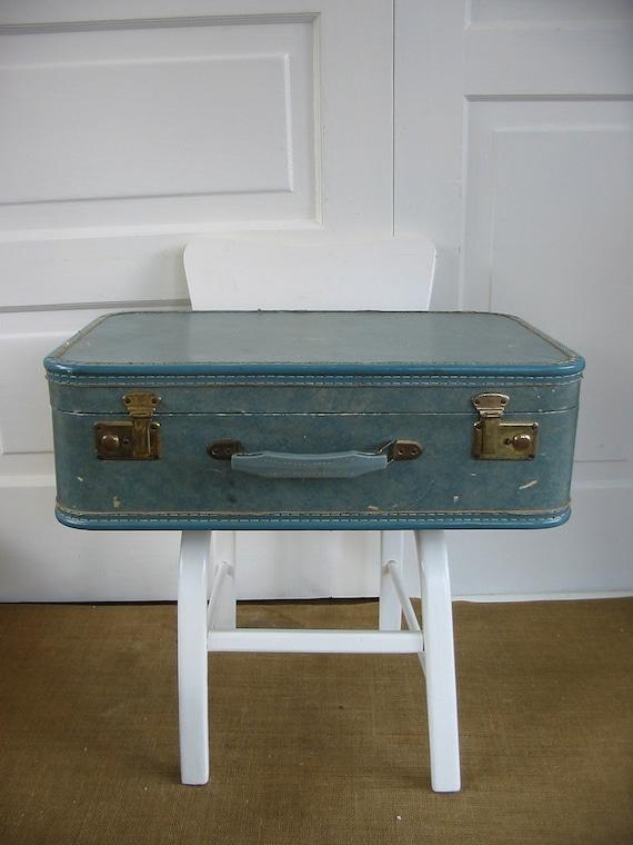 Suitcase Luggage Blue Vintage
