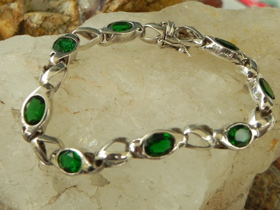 Sterling Emerald Green Link Bracelet