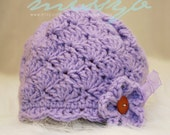 Crochet Baby Hat Pattern - Shell and Scallops Pretty Hat -  3 to 6 month size - PDF pattern - Fun Photography Prop - Instant Download