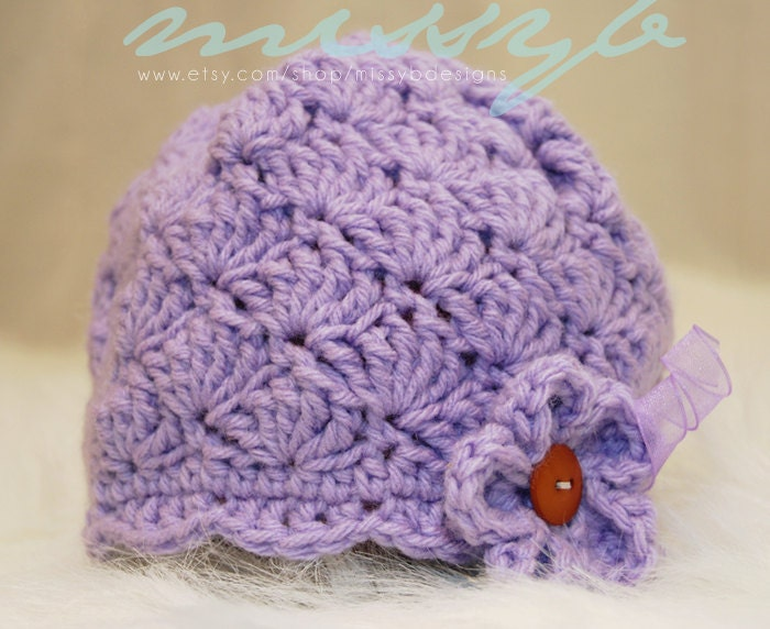Free Infant Girl Crochet Hat Patterns : Crochet Baby Hat Pattern Shell and Scallops by missybdesigns