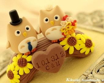 Owls with wood bridge Wedding Cake Topper (K507)