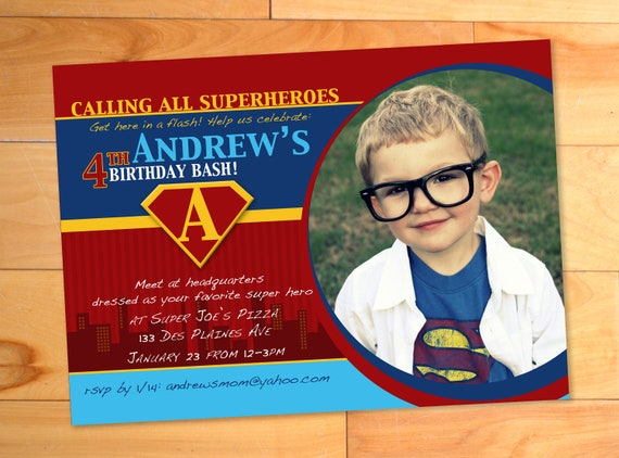 Superhero Birthday Invitation, Superhero Invitation, Superhero Invite, Custom Superman Photo Card, Birthday Party Invitation