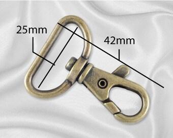 """10pcs - 1"""" Metal Trigger Snap Hook - Antique Brass - Free Shipping (METAL HOOK MHK-132)"""