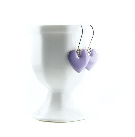 Lilac Heart Earrings, Handcrafted Sterling Silver Enamel Hearts Earrings