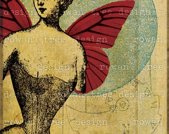 Printable Art MINUETTE 5x7in Digital Collaged Victorian Fairy - no. 0198