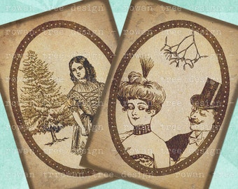 SEPIA VICTORIAN CHRISTMAS Digital Collage Sheet 2.5x3.5in Printable Download - no. 0141