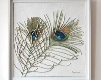 Peacock Feathers Painting - Textured String Art Framed Wall Hanging Blue Green Mixed Media Original Modern Art