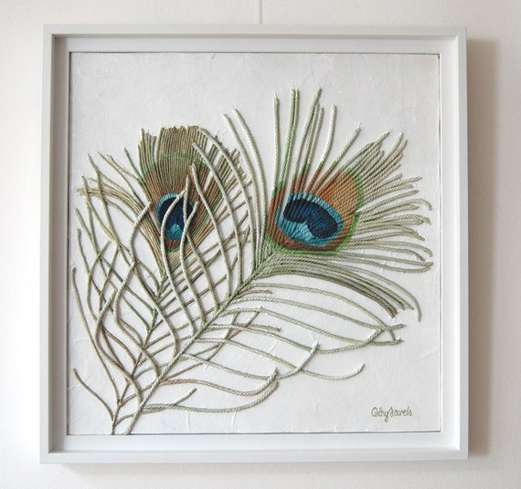 Peacock Feathers Painting - Textured String Art Wall Hanging in White Frame - Blue and Green