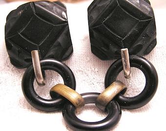 Antique Art Deco Black Bakelite Belt Buckle (J119)
