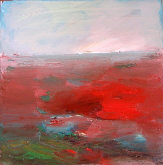 Red Landscape, Original oil painting on canvas