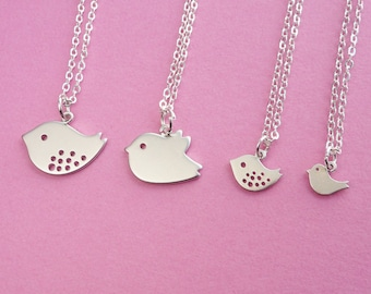 Family set of 4 Bird Necklace - Best Friend and Family Necklace  (R4B-A4)