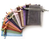Assorted Solid Color Organza Gift Bags, Sheer Organza Bags, Drawstring Bags, Organza Bag 10 Packs, Jewelry Storage Bags, Jewelry Gift Bags