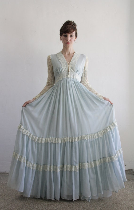 RESERVED  . Vintage Gunne Sax Dress . Baby Blue . 1960s Boho . Gown . Fall Bride