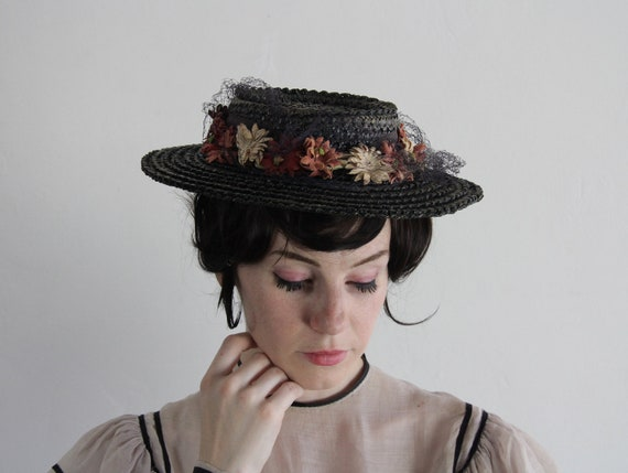 RESERVED . Antique Straw Hat . Victorian . Faux Flowers . 1800s . Sun Hat