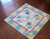 ORGANIC LOVEY, 30 inch square handmade baby blue twister quilt
