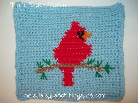 PDF Pattern Cardinal On A Branch Hot Pad Pot Holder Mug Rug