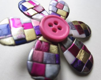 Little quilted mosaic posy pin brooch with pink and purple