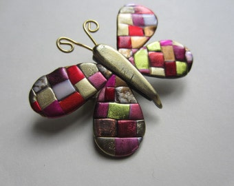 Quilted Mosaic Butterfly Pin Brooch