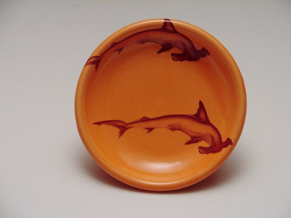Hammerhead Shark Saucer/ orange pottery
