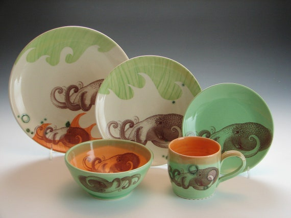 Custom Wave Dinnerware Set / Made to order pottery