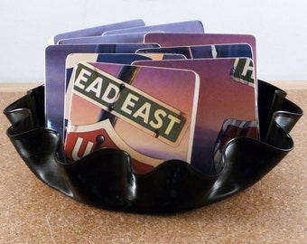 HEAD EAST recycled US 1 album cover coasters and vinyl basket